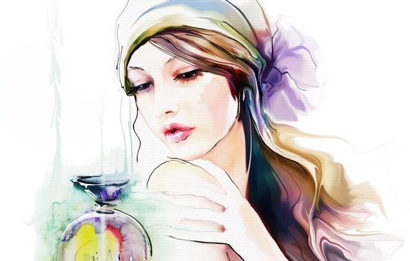 Picture look, girl, face, hair, hand, perfume, makeup, shawl, Tatiana Nikitina