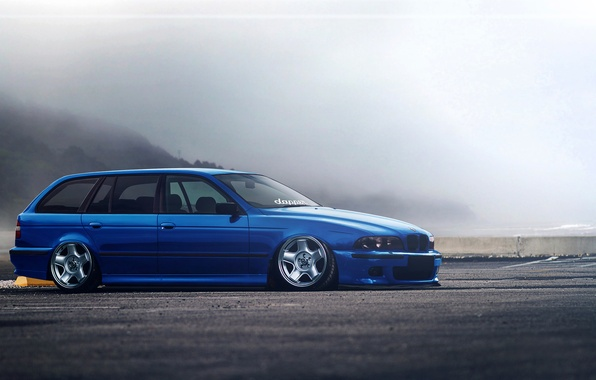 Picture BMW, Blue, E39, Stance, Low, Estate, Hugo Silva