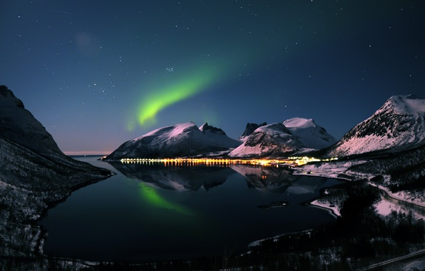 Picture winter, mountains, night, Northern lights