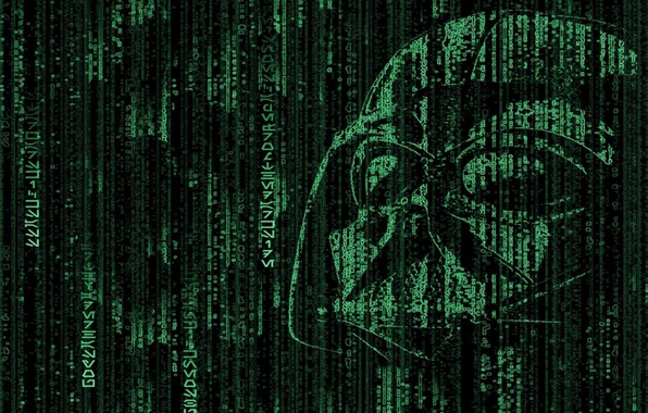 Picture Star Wars, code, matrix, Matrix, Darth Vader, Darth Vader, dark side, hacker