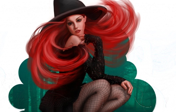 Picture girl, hat, art, red, witch, Halloween, halloween