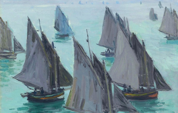 Picture picture, sail, seascape, Claude Monet, Fishing Boats. Calm Sea