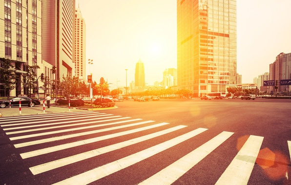 Picture road, auto, the sun, light, trees, machine, life, city, the city, people, street, building, home, …