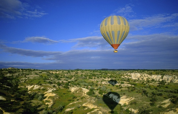 Picture the sky, flight, balloon, hills