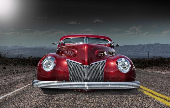Picture road, retro, car, classic, the front, classic car