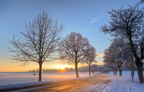 Picture winter, road, the sky, the sun, clouds, snow, trees, dawn, blue, morning, Germany
