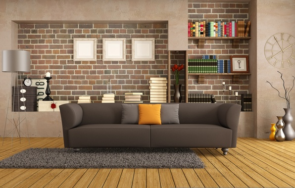 Picture sofa, interior, pillow, library, vintage, living room, living room, interior, modern, Modern, decor, couch, pillows, …