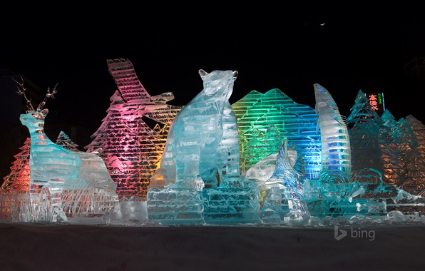 Picture light, night, color, Japan, Sapporo, ice sculptures, Winter Festival