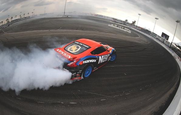 Picture smoke, skid, nissan, drift, drift, smoke, Nissan, 370z, slide