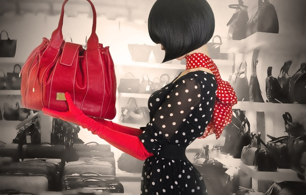 Picture girl, style, hair, haircut, dress, gloves, profile, bag