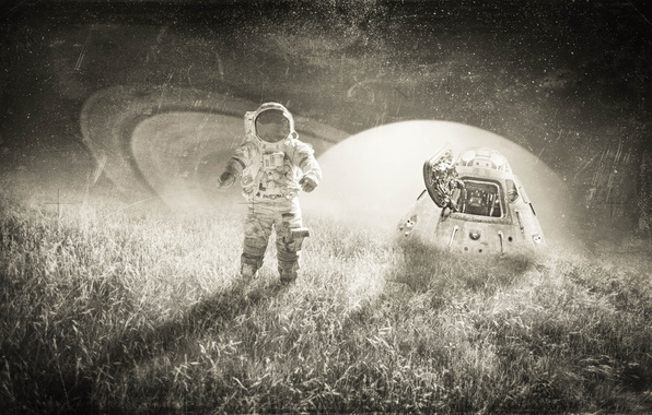 Picture field, the sky, grass, stars, light, night, creative, fiction, planet, the suit, capsule, black and …
