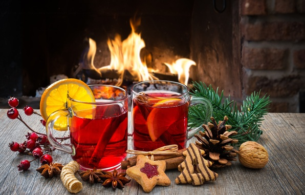 Picture fire, holiday, wine, cookies, fire, fireplace, drinks, Happy New Year, wine, Merry Christmas, holiday, drink, …