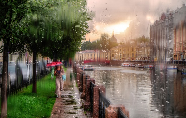 Picture girl, drops, rain, umbrella, Saint Petersburg, Russia
