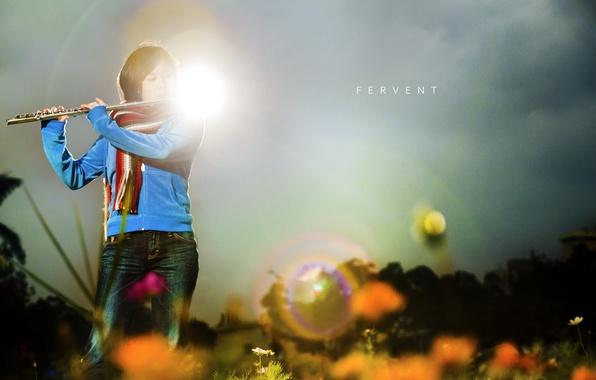 Picture girl, light, music, flute