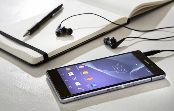 Picture Headphones, Sony, Notepad, Xperia, Smartphone, Handle