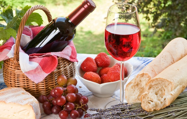 Picture berries, wine, red, basket, glass, bottle, cheese, strawberry, bread, grapes, lavender, baton
