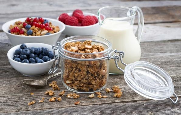 Picture raspberry, Breakfast, milk, pitcher, currants, blueberries, granola