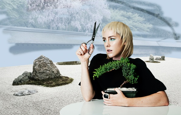 Picture table, background, plant, makeup, actress, hairstyle, blonde, scissors, Jena Malone, Bullett, Jena Malone, decorative, James …