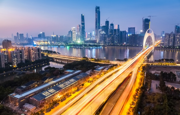 Picture road, lights, river, home, the evening, China, bridges, megapolis, Zhujiang New Town