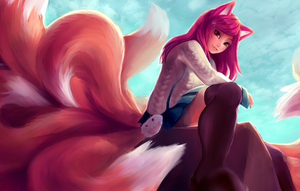 Picture girl, smile, anime, art, ears, league of legends, tails, ahri