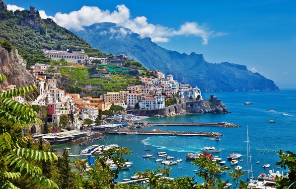 Picture sea, the sky, trees, mountains, coast, building, home, boats, Italy, Italy
