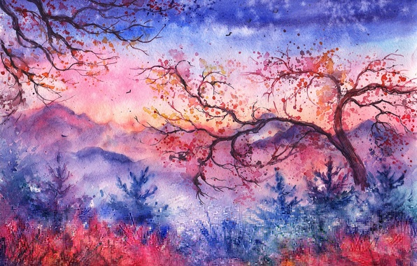 Picture trees, sunset, mountains, birds, foliage, the evening, watercolor, tree, painted landscape