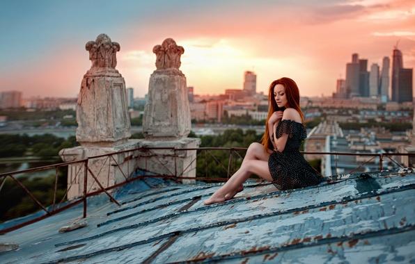 Picture roof, sunset, the city, legs, Ira, George Chernyadev, Irina Gusarova, Sunset on the roof