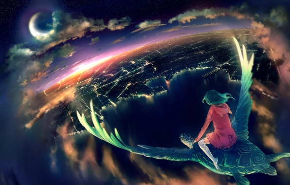Picture girl, clouds, night, the city, turtle, wings, a month, art, yuumei