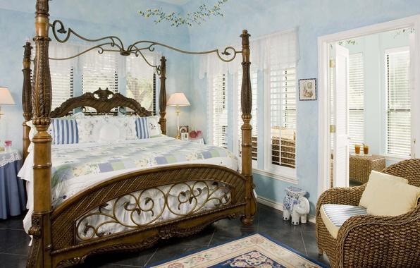 Picture style, retro, bed, bedroom, Interior