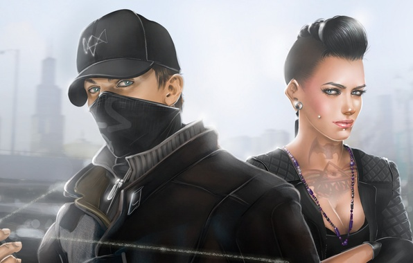 Picture figure, mask, cap, Chicago, art, Ubisoft Montreal, Watchdogs, Aiden Pearce, watch dogs, Clara Lille