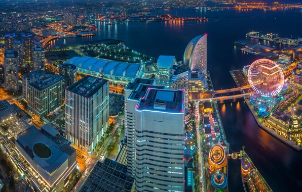 Picture building, Japan, panorama, Bay, Japan, night city, skyscrapers, Yokohama, Tokyo Bay, Yokohama, Tokyo Bay, Minato …