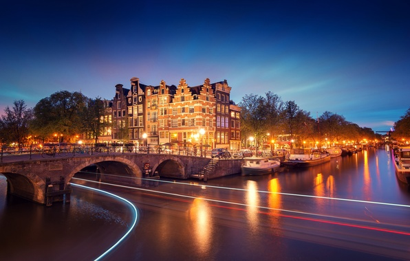 Picture light, trees, bridge, the city, lights, river, boats, the evening, excerpt, lighting, Amsterdam, lights, channel, …