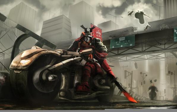 Picture road, bridge, the city, sword, armor, samurai, motorcycle, duel, bike