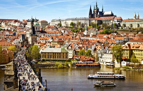 Picture the city, river, people, view, building, home, roof, Prague, Czech Republic, panorama, architecture, ferry, Prague, …