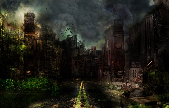 Picture road, the sky, clouds, the city, Apocalypse, smoke, building, art, the ruins, ruins, buildings