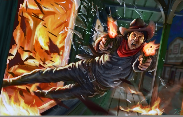 Picture weapons, fire, hat, art, cowboy, illustration, anger