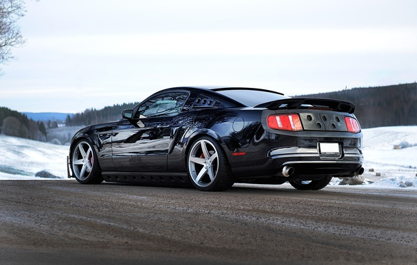 Picture road, snow, black, mustang, Mustang, ford, black, Ford, back, exhaust pipe