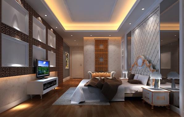 Picture lamp, sofa, bed, TV, design, bedroom, interior, bedroom, tables, backlight., master