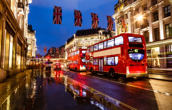 Picture night, lights, England, London, lights, bus, london, night, street, england, buildings, bus, street, buildings