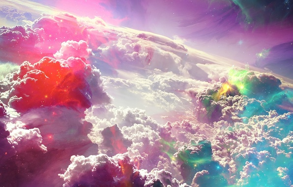 Picture color, clouds, light, clouds, abstraction, lights, glare, paint, the atmosphere, brightness, reflections