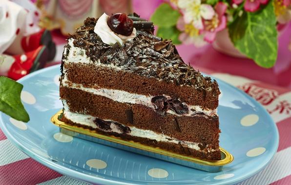 Picture cherry, chocolate, cake, cream, piece