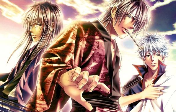 Picture the sky, katana, headband, guys, three, Gintama, Sakata Gintoki, Takasugi Shinsuke, Katsura Kotaro