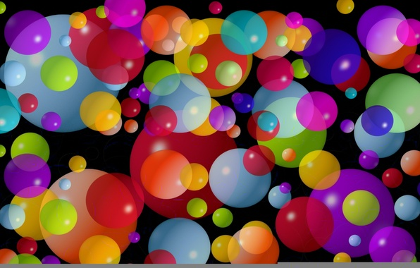 Picture circles, balls, small, large, colorful, the dark background, average