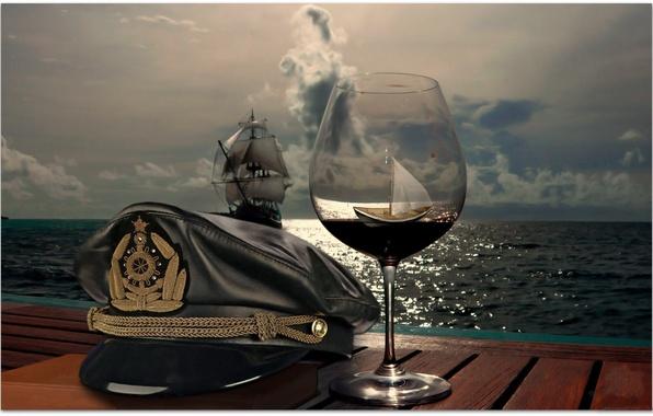 Picture SEA, SHIP, HORIZON, The OCEAN, The SKY, GLASS, CLOUDS, HAT, SAILS, GLASS, CAP, BOAT, CAP, …