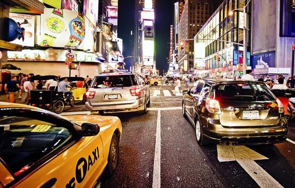 Picture night, new York, night, new york, usa, nyc, Traffic Jam