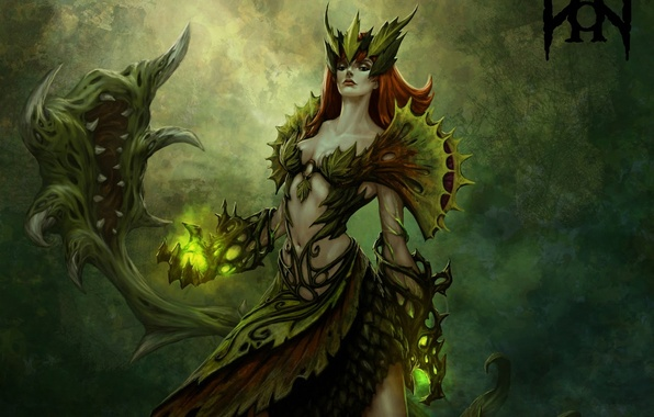 Picture girl, weapons, magic, monster, plants, fangs, league of legends, zyra
