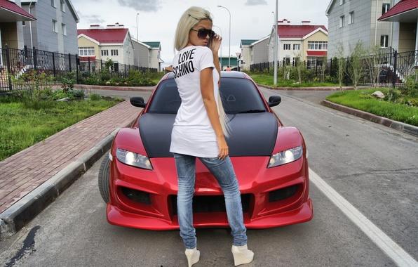 Picture girl, home, blonde, mazda, Mazda, rx-8