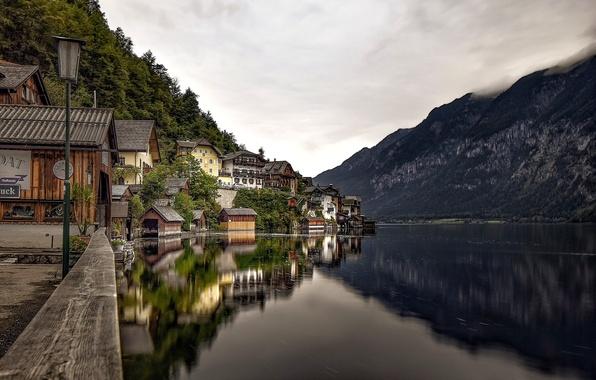 Picture mountains, lake, reflection, home, Austria, Alps, lantern, promenade, Austria, Hallstatt, Alps, Lake Hallstatt, Hallstatt, Lake …