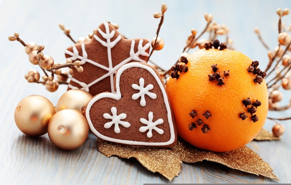 Picture balls, holiday, toys, new year, the scenery, cinnamon, happy new year, tangerines, christmas decoration, Christmas …