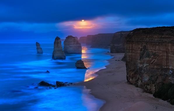 Picture rock, beach, sky, sea, ocean, landscape, coast, nature, water, clouds, sun, sunrise, Australia, cliff, limestone, …